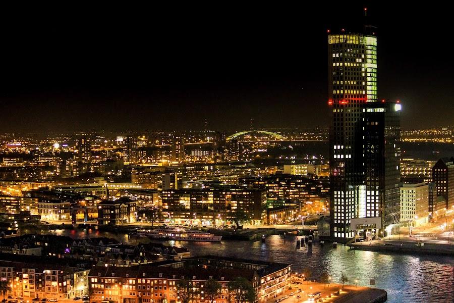 Nightscapes of Rotterdam by Charles Ong - City,  Street & Park  Night ( netherland, lights, rotterdam, night, nightscape, , city )