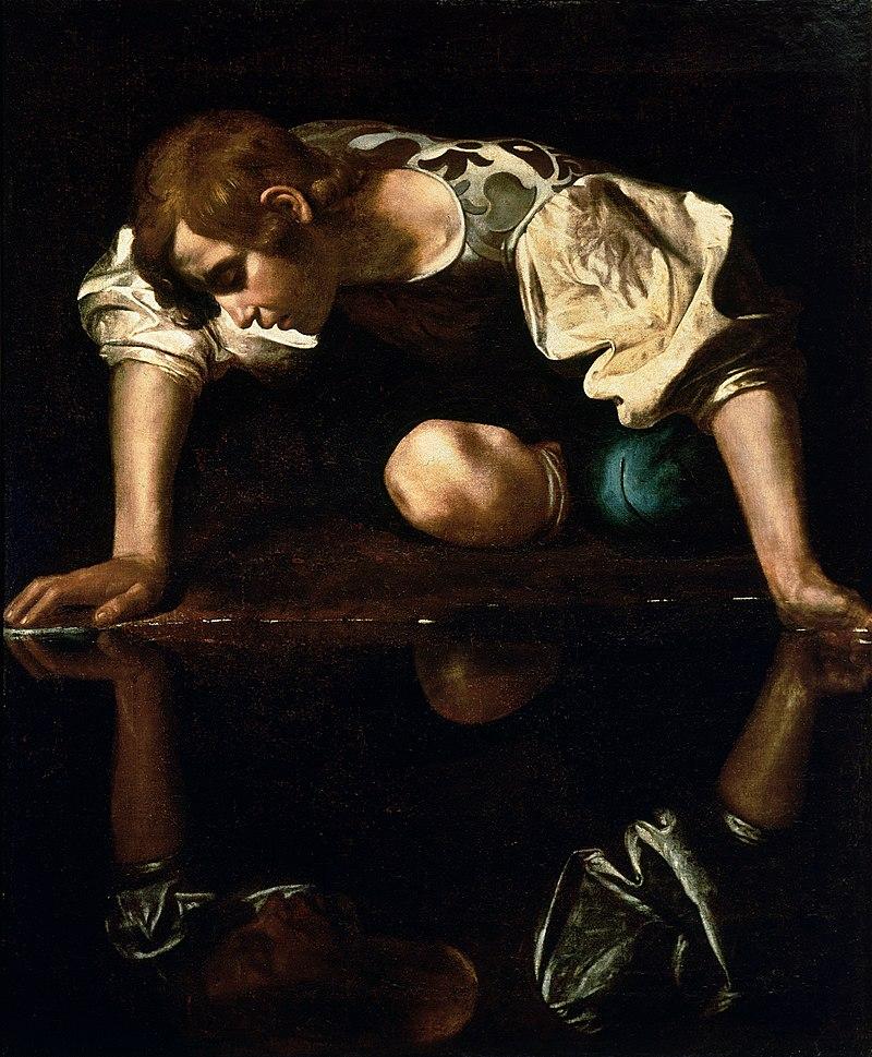 800px-Narcissus-Caravaggio_(1594-96)_edited
