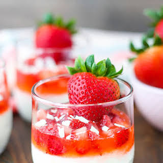 Strawberry White Chocolate Mousse Cups.
