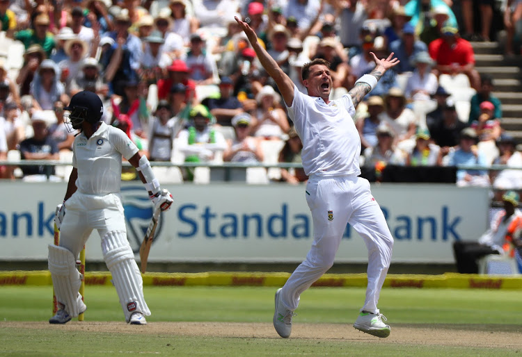 Dale Steyn of South Africa celebrates after taking the wicket of Wriddhiman Saha of India during day 2 of the Sunfoil Cricket Test Match between South Africa and India at Newlands Cricket Ground, Cape Town on January 6 2018. File picture