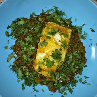 Curried Hake on Spiced Lentils.