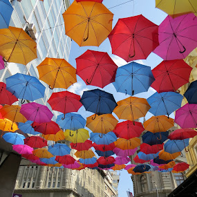 Colorful sky  by Anto Boyadjian - City,  Street & Park  Street Scenes ( color street umbrella sky blue red )