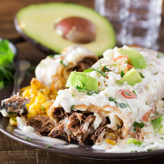 Smothered Beef Barbacoa Chimichangas.