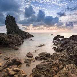 Mersing Sunrise by Joyce Chang - Landscapes Waterscapes ( clouds, mersing, sea, sunrise, rocks )