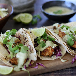 Grilled Chicken Tacos with Avocado and Cilantro Dressing.