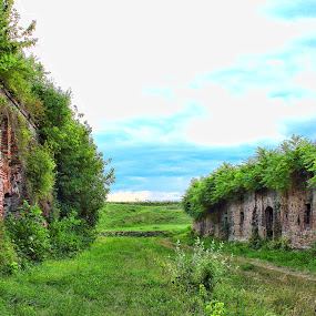 afternoon  by Miroslav Bičanić - Buildings & Architecture Decaying & Abandoned ( clouds, sky, blue, grass, fortress, green, bricks, walk, abandoned )