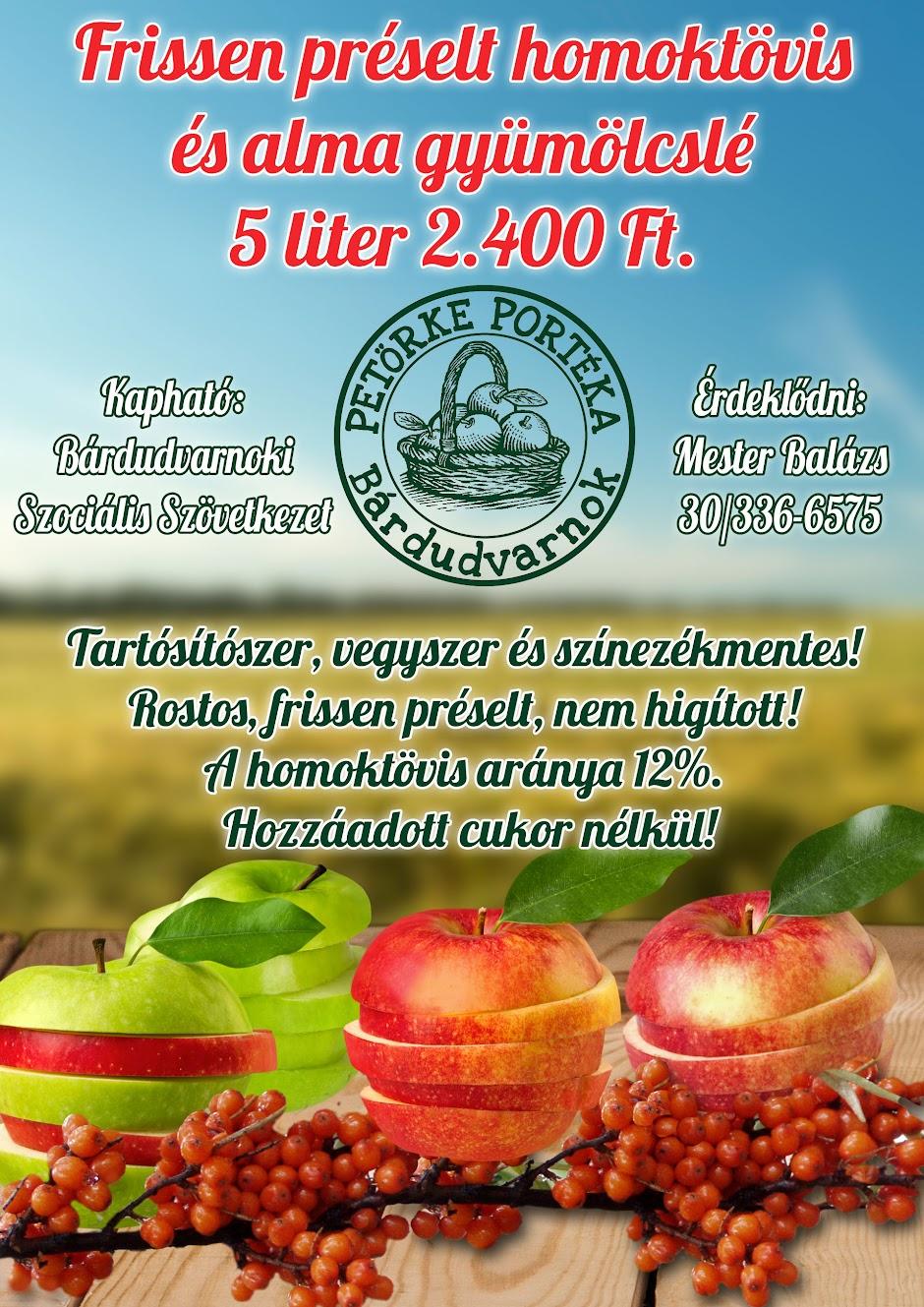 Homoktövis és almalé plakát