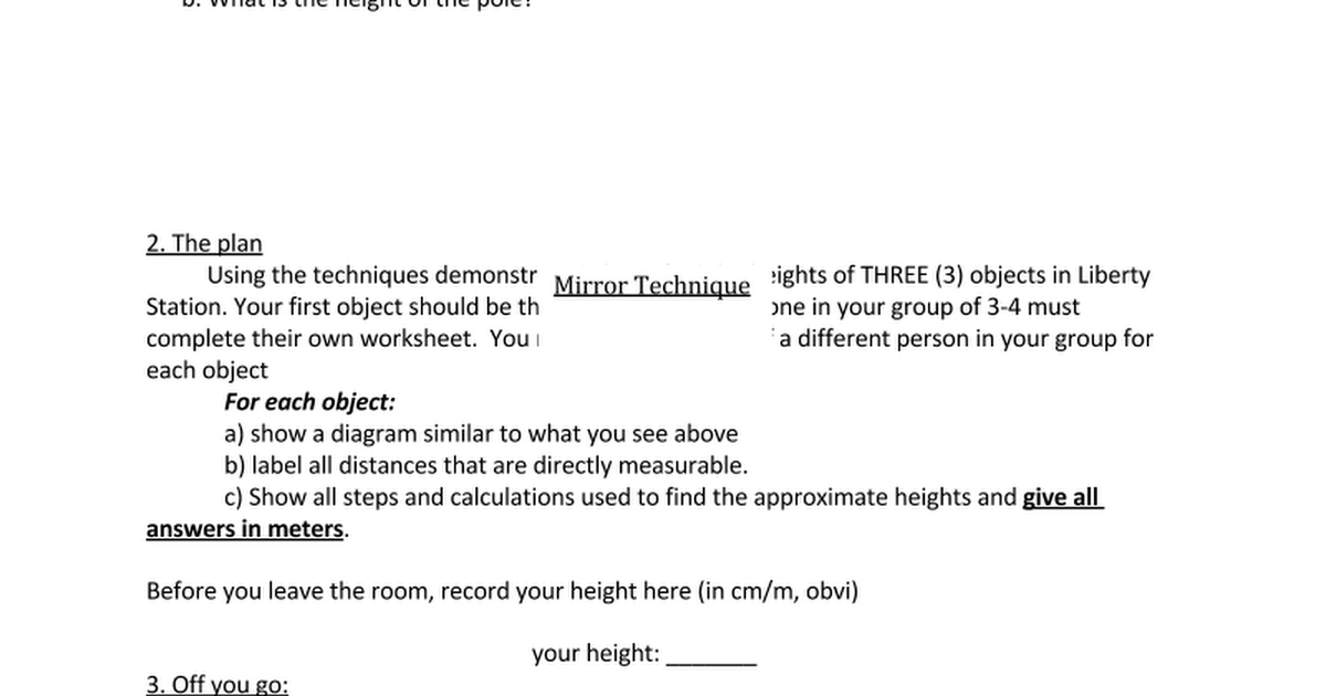 Using Similarity To Find Heights Of Unknown Objects Google Docs