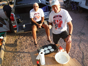 Photo: Day 22 Douglas to Lusk WY 84 Miles, 1500' climbing: Jim whips up some pancakes