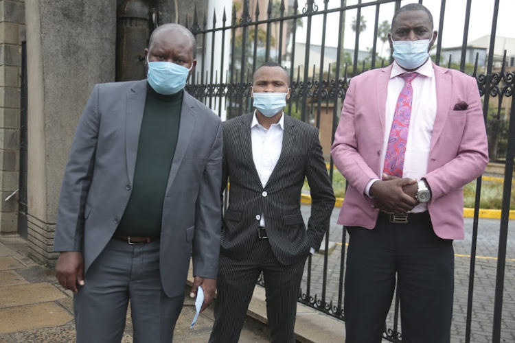 Kirinyaga MCA's David Mathenge,James Murango and Joel Wagura after submitting documents to Senate Speaker Kenneth Lusaka on June 10, 2020.