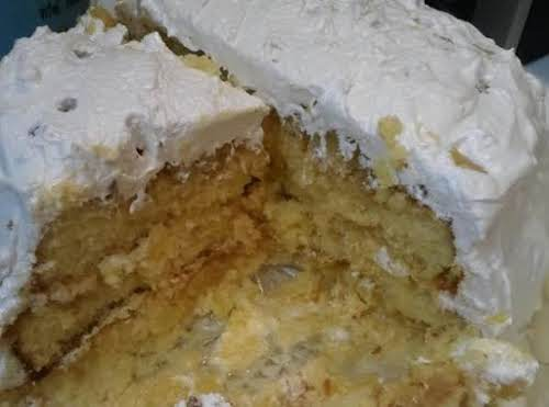 """Bea's Pineapple Cake w/Seven Minute Icing """"This is the best cake I..."""