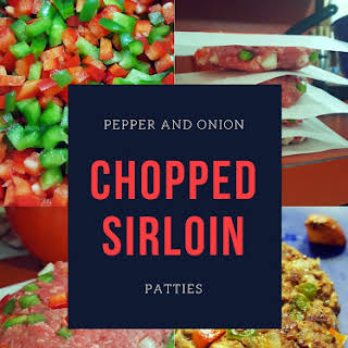 Pepper and Onion Chopped Sirloin Patties.