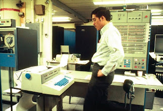 Photo: Console of the IBM S/360-67 computer at the Computing Center, North University Building, University of Michigan, Ann Arbor, Michigan, USA, c. 1968
