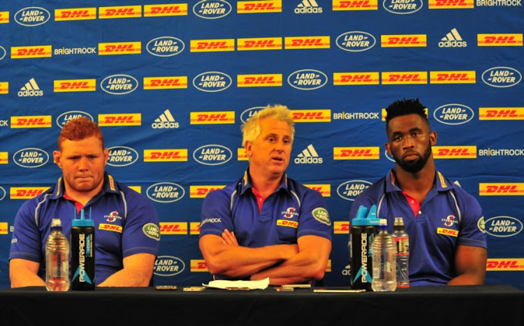 Steven Kitshoff, Robbie Fleck (Head Coach) and Siya Kolisi during the DHL Stormers Training Session and Press Conference at DHL Newlands on February 08, 2018 in Cape Town, South Africa.