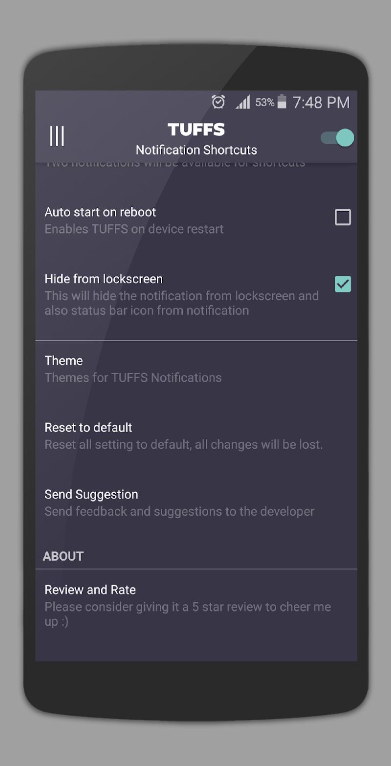 TUFFS Notification Shortcuts Screenshot 14