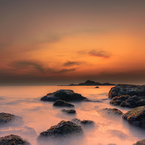 The Solitary Evening in the Beach by Manabendra Dey - Landscapes Waterscapes ( sunset, gokarna, long exposure, om beach, evening )