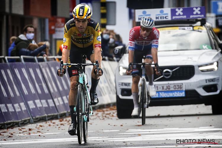 """Wout van Aert komt nog even terug op Gent-Wevelgem en Mathieu van der Poel: """"Ik ben niet lang boos geweest"""""""