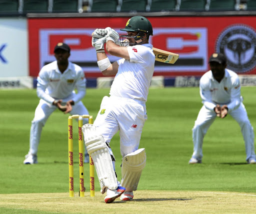 SA's Dean Elgar bats on the first day of the third Test against Sri Lanka, at Wanderers in Johannesburg on January 12 2107. Picture: GALLO IMAGES