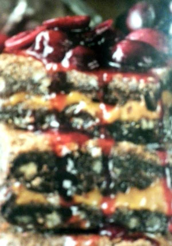Decadent Caramel-stuffed Brownies W/ Cherry Sauce Recipe