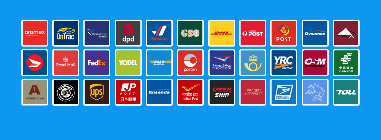 The logos of the carriers supported by Packagetrackr