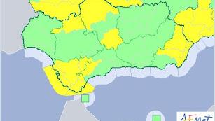 Zonas en alerta amarilla en Andalucía durante el miércoles, según Aemet.
