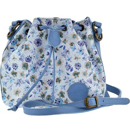 Liten säckväska blommig ljusblå 191 med blommigt foder