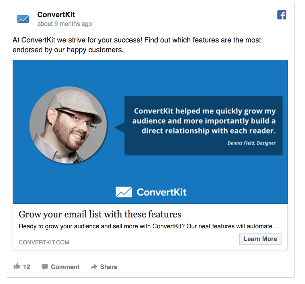 convertkit uses social proof in PPC