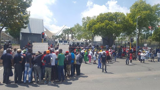 Protestors picketing at Vodacom's head office in February.