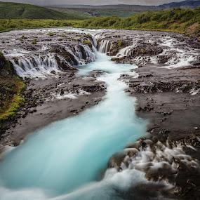 The Secret Waterfall by Simon Gelfand - Landscapes Waterscapes ( nikkor 14-24, iceland, simon gelfand, ice water, blue, nikon d800, waterfalldd, bruarfoss, nikon )