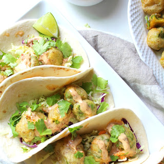 Crispy Avocado Tacos with Vegan Chipotle Lime Aioli.