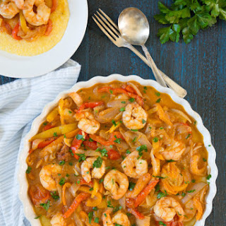 Shrimp and Peppers on Creamy Polenta.