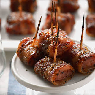 Bacon Wrapped Kielbasa with Brown Sugar Glaze.