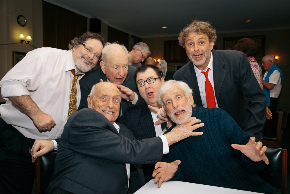 Patrick Milligan squeezing the Lurgi out of Rob (Spike) Queree after our show on March 7th, 2015. The Goon Show LIVE! cast had a great time.