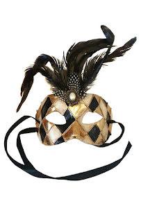 Venetiansk mask, guld med fjäder
