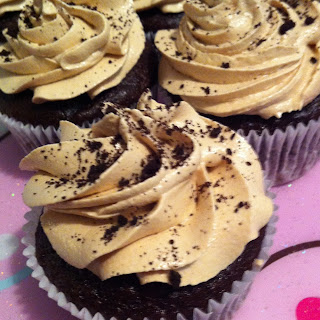 Chocolate Banana Cupcakes with Peanut Butter-Brown Sugar Frosting.