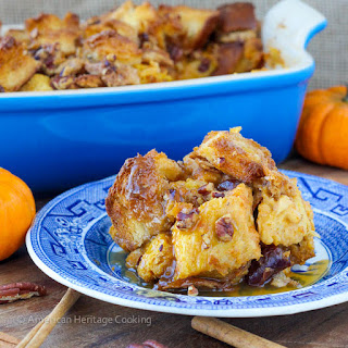 Easy Pumpkin Spice Bread Pudding {Maple Bourbon Sauce}