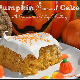Pumpkin Caramel Cake With Cinnamon Whip Frosting.