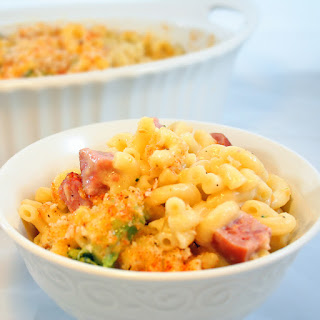 Oven Baked Macaroni and Cheese with Smoked Sausage and Broccoli.