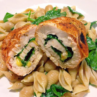 Spinach and Colby Jack Stuffed Chicken Roll-Ups.