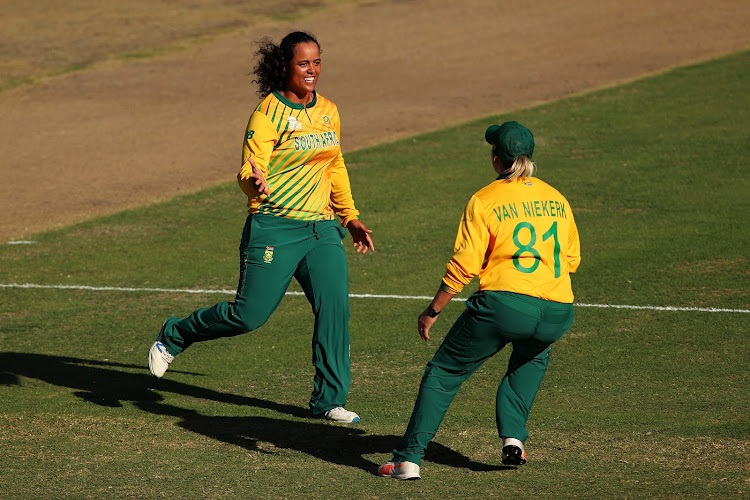 Chloe Tryon of South Africa celebrates after Javeria Khan of Pakistan was run out during the ICC Women's T20 Cricket World Cup match between between South Africa and Pakistan in Sydney on March 01, 2020.
