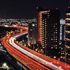 Light's flow by Hiro Ytwo - City,  Street & Park  Vistas ( traffic, night, trails, light, city )