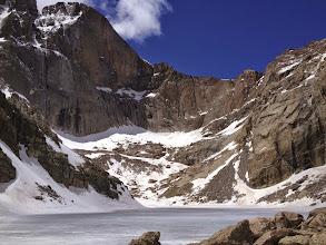 Photo: Longs Peak Diamond face immediate above frozen Chasm Lake on June 1st 2013