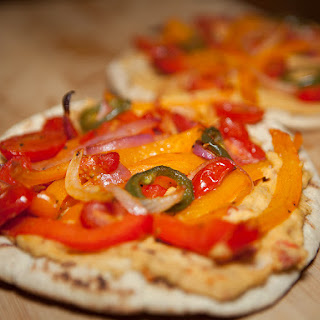 Vegan Hummus and Roasted Veggie Pita Pizza.
