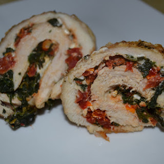 Chicken Roulades With Spinach, Feta And Sun Dried Tomatoes.