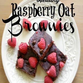 Healthy Raspberry Oat Brownies.