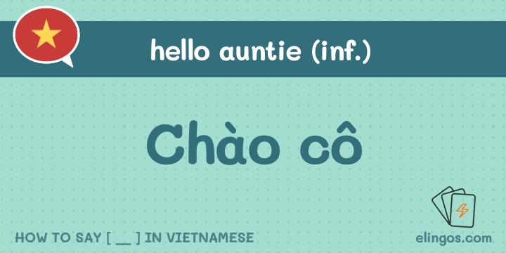 Hello auntie in Vietnamese