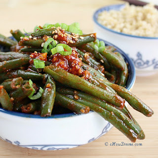 Sautéed Green Beans with Spicy Korean Chili Pepper Sauce.