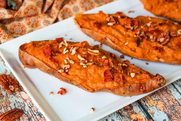 Thanksgiving Twice Baked Pumpkin Sweet Potatoes On A Platter.