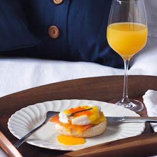 Luxury Eggs Benedict with Smoked Salmon & Tobiko.
