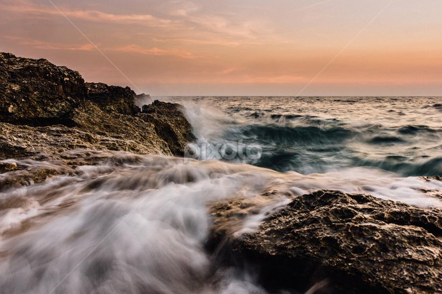 The wave by Žan Pavšek - Landscapes Waterscapes ( water, orange, waterscape, waves, seascapes, beautiful, sea, rock, seascape, beach, waterscapes, sun, sky, blue, sunset, wave, rocks )